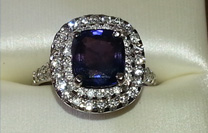 Tanzanite diamond halo ring